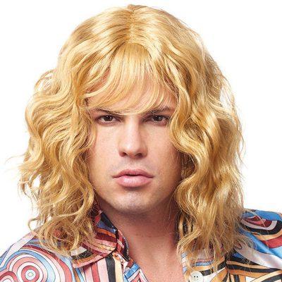 Model Dude Wig Shaggy Long Blonde Guys Wig