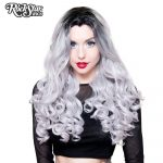 Curly Silver Dark Roots Lace Front Wig
