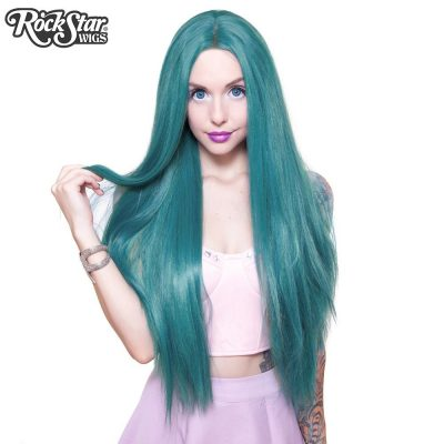 Lace Front Yaki Straight Turquoise Wig