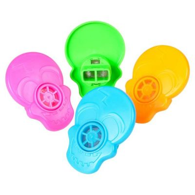 Small Party Neon Plastic Skull Whistles