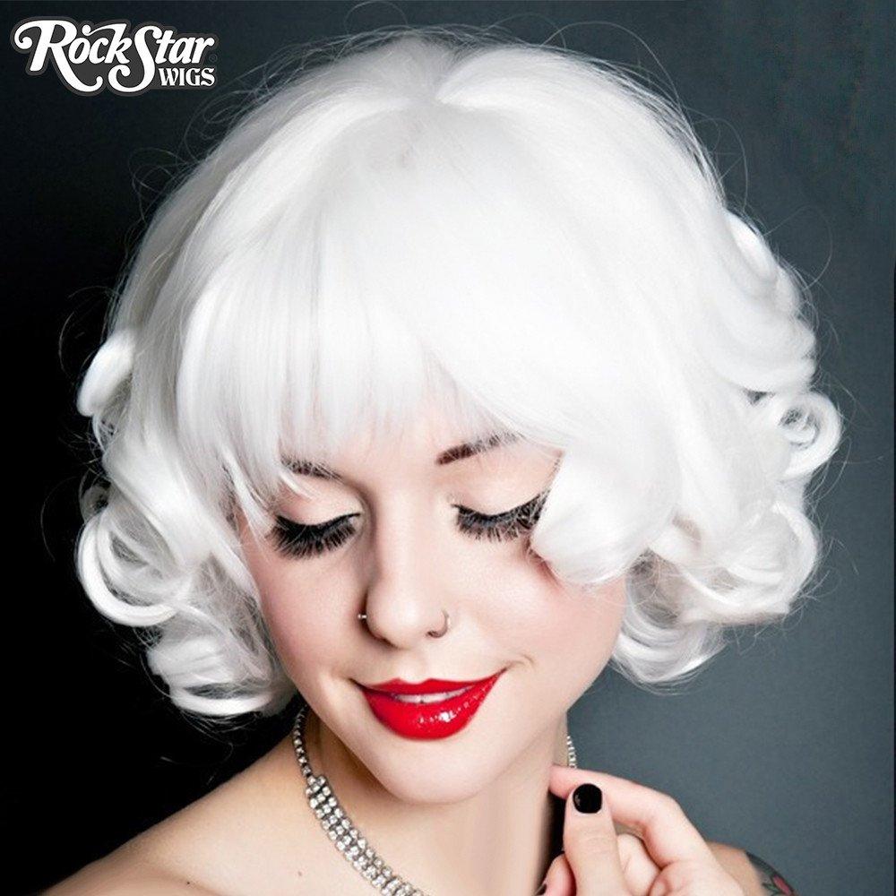 Buy Rock Star Curly White Bob Wig Halloween Accessory - Cappel s e55cbfb4ea80