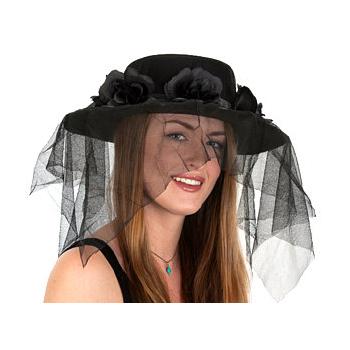 Veiled Felt Hat With Flower Band