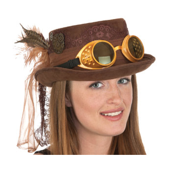 Steampunk top hat with goggles, feather, and net