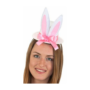 White Felt Bunny Ears Top Hat Headband
