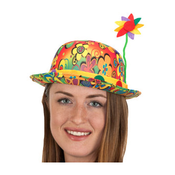 Retro Fabric Clown Derby Hat with Flowers