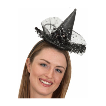 Trimmed Fabric Witch Hat Headband