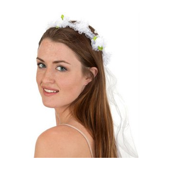 White Net Veil with Flowers Halloween Costume Accessory