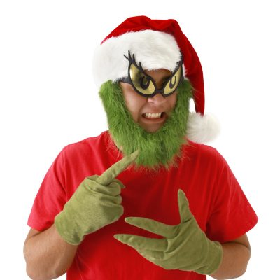 Plush Grinch Hat with Green Beard Halloween Costume