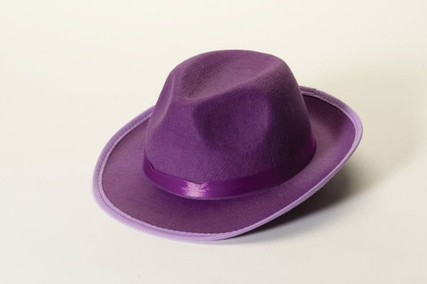 Purple Fedora Solid Color Fabric Adult Hat