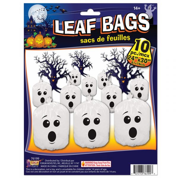 Plastic Ghost Face Leaf Bags