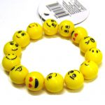 Party Emoji Round Bead Elastic Bracelet