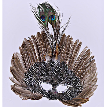 Deluxe Feathered Face Half Mask with Peacock Top