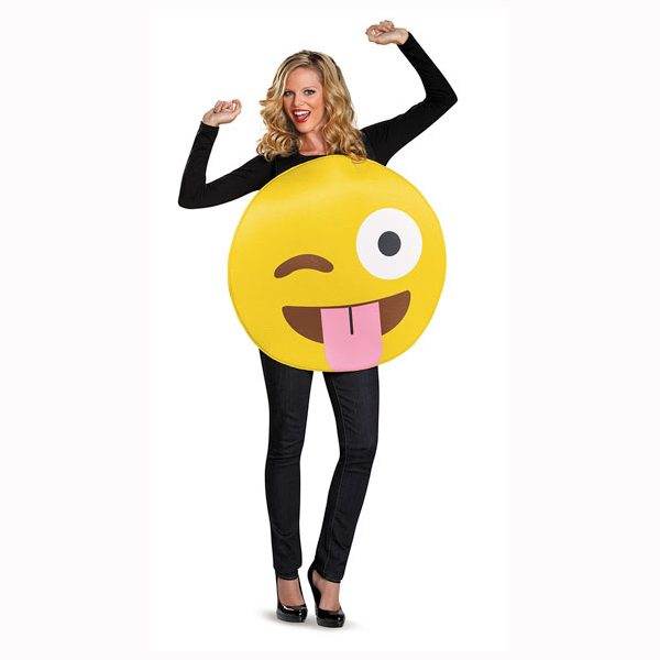 Emoji Face Tongue Out Adult Halloween Costume