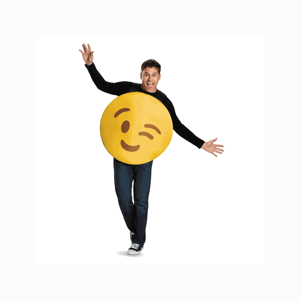 Emoji Face Winking Adult Halloween Costume