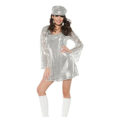 Shimmer Silver Sequin Adult Halloween Costume