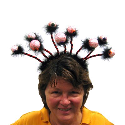 Multi Eyeball Headband with Feather Trim