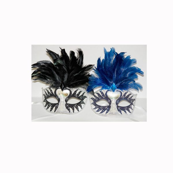Deluxe Glittered Venetian Half Mask with Feathers