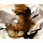 Deluxe Trimmed Venetian Half mask with Feathers