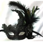 Deluxe Glittered Venetian Half Mask W/ Lace and Feathers
