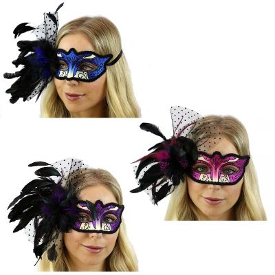 Glittered Venetian Half Mask w Feathers and Netting
