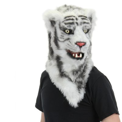 White Tiger with Movable Mouth adult Halloween Mask