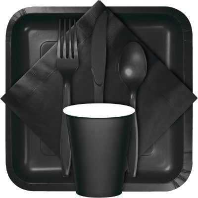 Black tableware, table covers, utensils