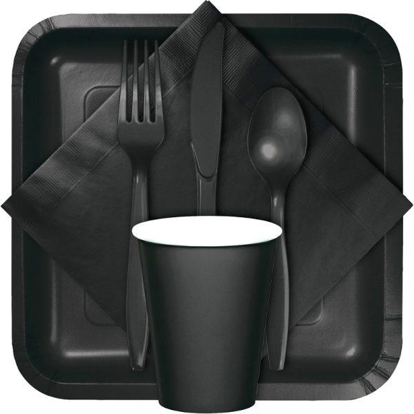 Black tableware, table covers, utensils
