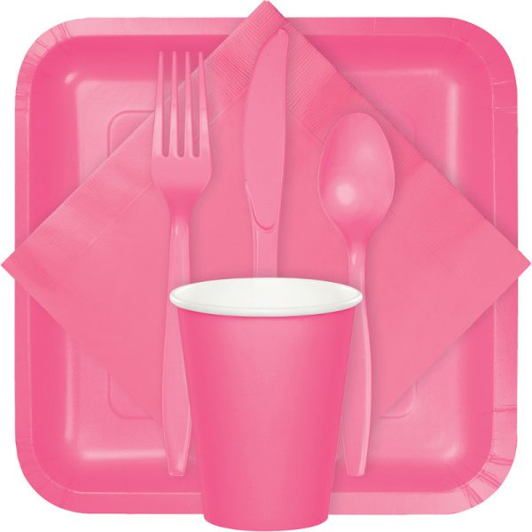 candy pink tableware, table covers, utensils
