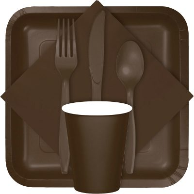 chocolate brown tableware, table covers, utensils