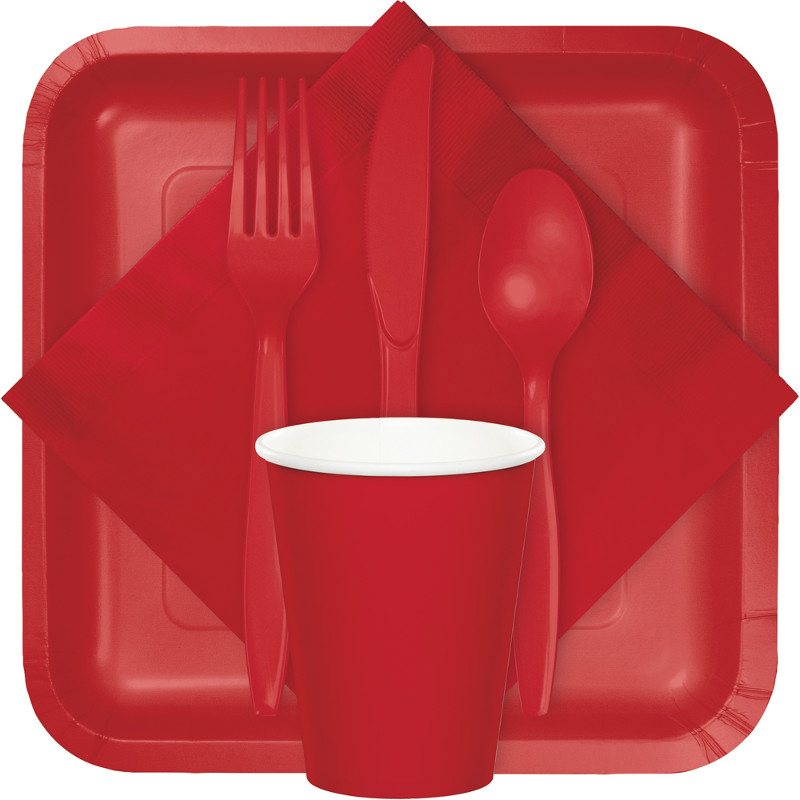 classic red tableware, table covers, utensils