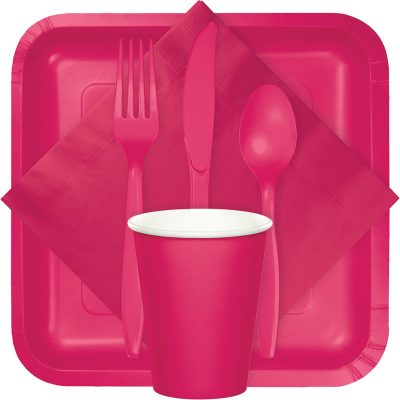 Hot magenta tableware