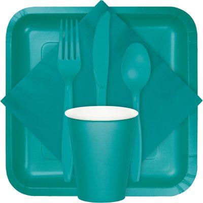 tropical teal tableware