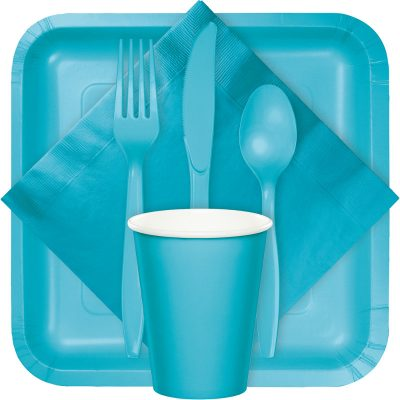 bermuda blue tableware, table coves, utensils