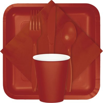 Brick color tableware, table covers, utensils