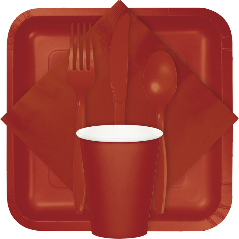 Brick color tableware, table covers, utensils