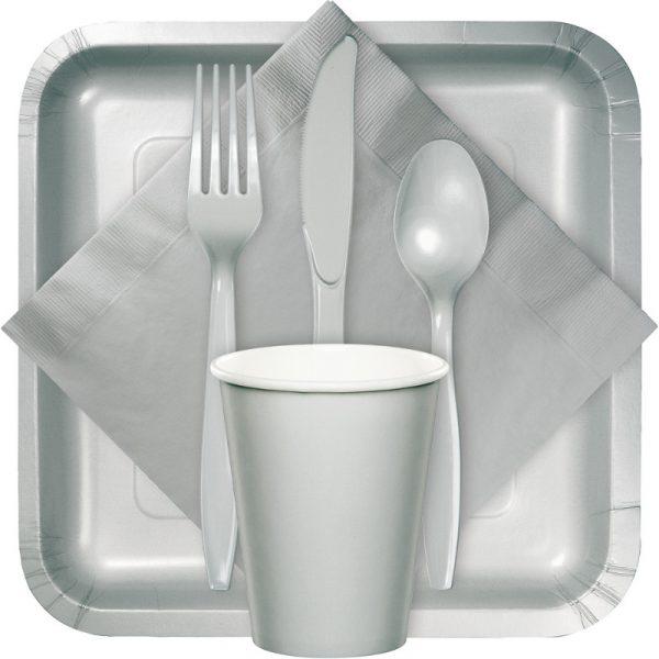 Shimmering silver tableware