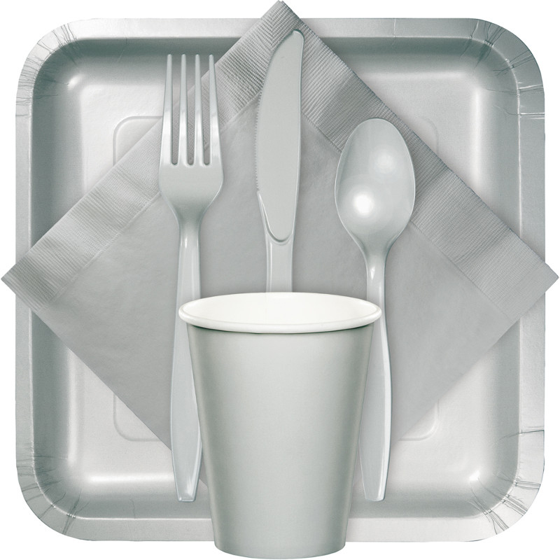 Shimmering silver tableware