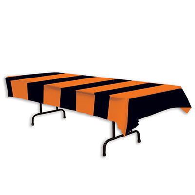Orange and Black Stripes Table Cover