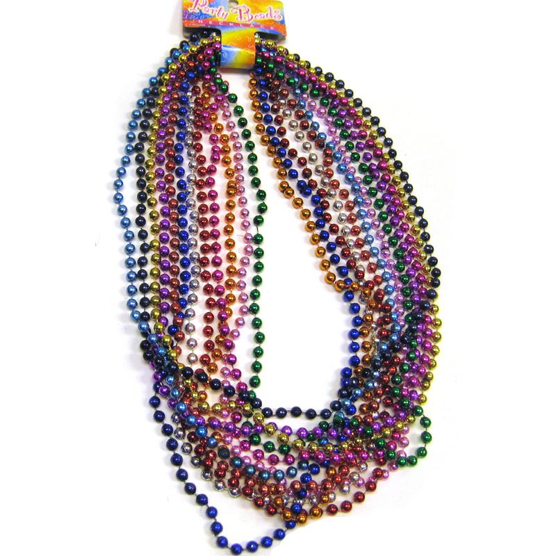 Dozen Metallic Smooth Round Bead Necklaces