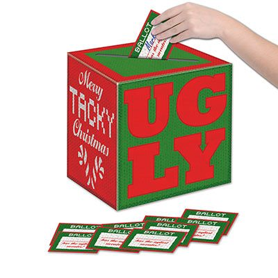 Ugly Sweater Ballot Box with Ballots