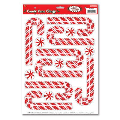 Candy Cane Cling Holiday Decoration