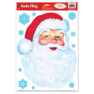 Santa Face Cling Holiday Decoration