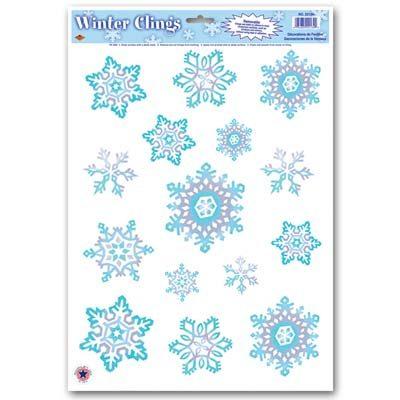 Crystal Snowflake Cling Holiday Decoration