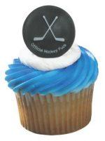 Black Hockey Puck Cupcake Ring with crossed hockey sticks