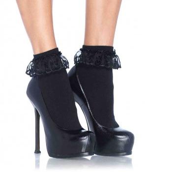 Nylon Lace Ruffle Anklet Socks