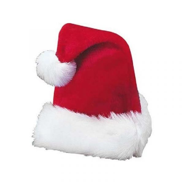 Deluxe Plush Red Santa Hat with White Trim and White Pom pom