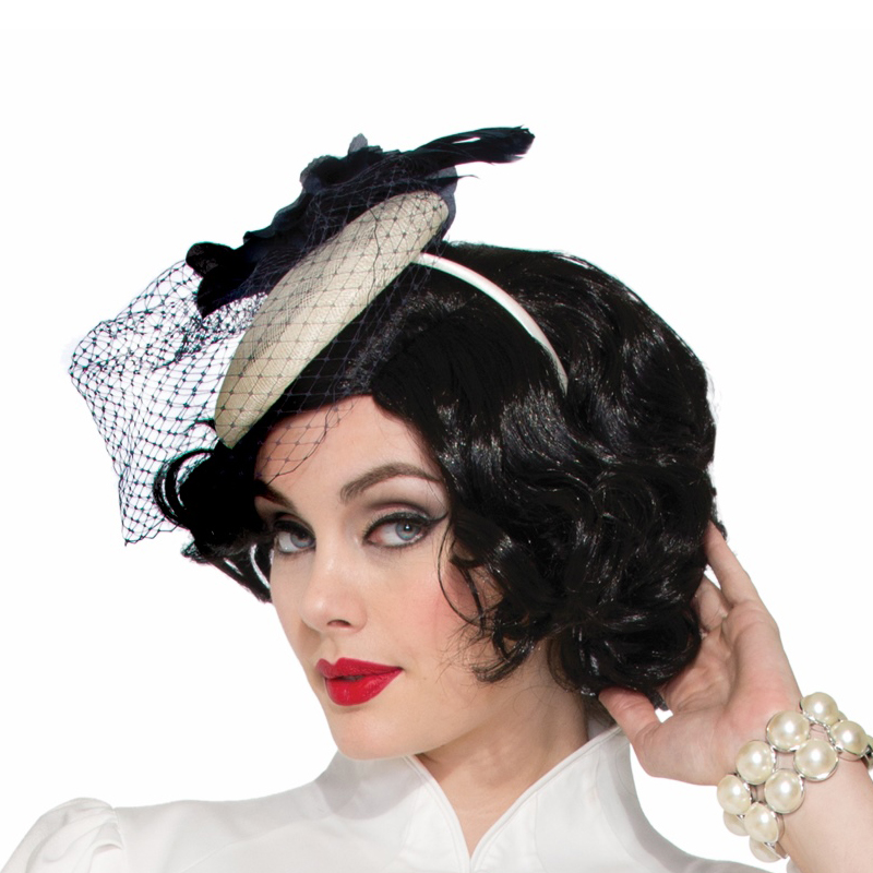 1940s Headband Hat - Ivory with Blue Flower and Netting