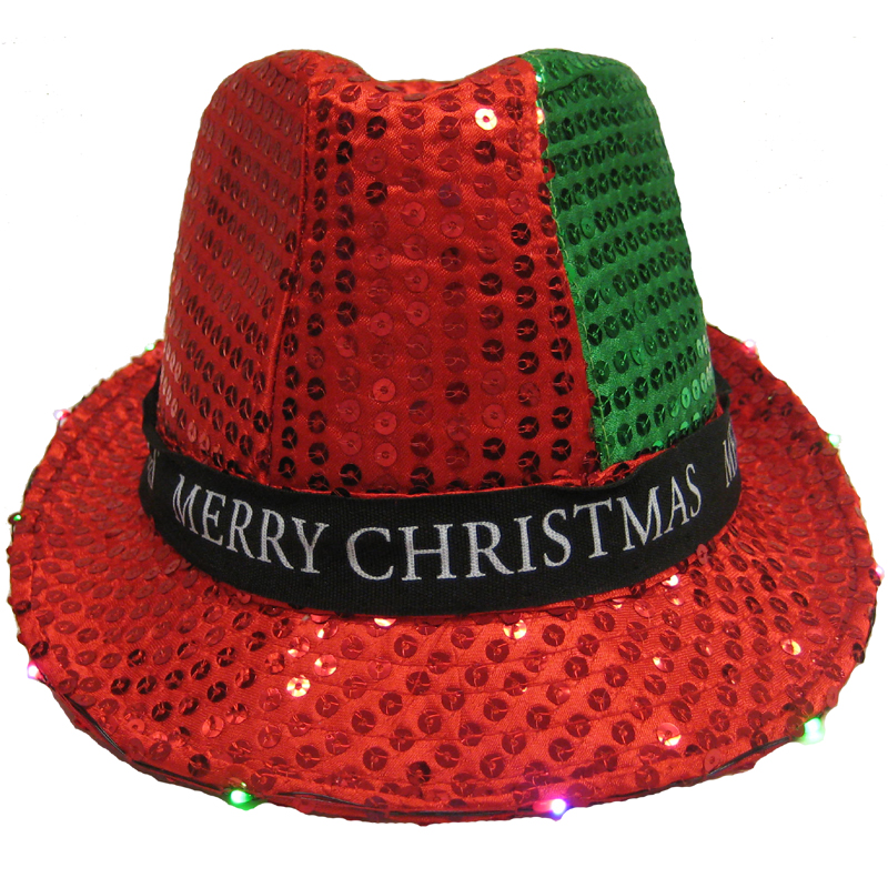 merry christmas red and green sequin fedora