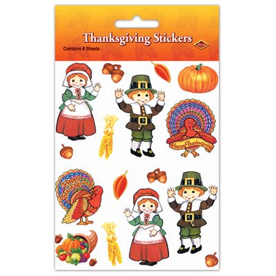 Pilgrim and Turkey Stickers Thanksgiving Party Supply
