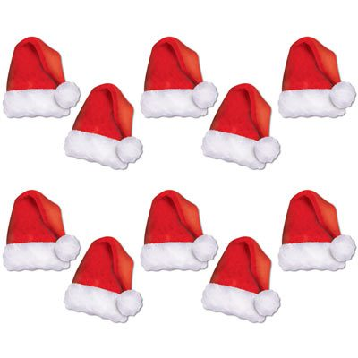 Mini Santa Hat Cutouts Christmas Decorations